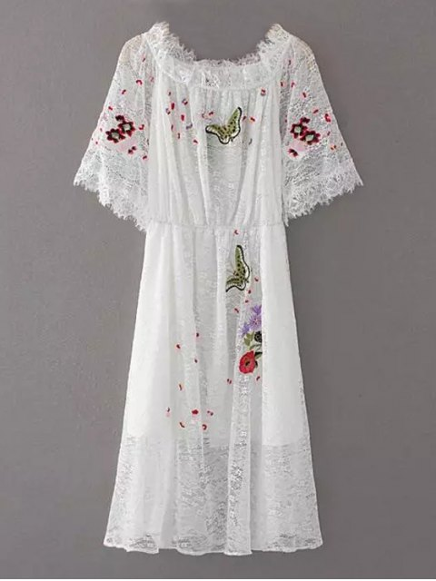 trendy Embroidered Off Shoulder Lace Dress - WHITE S Mobile