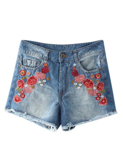 trendy Frayed Hem Floral Embroidered Denim Hot Shorts - BLUE M Mobile