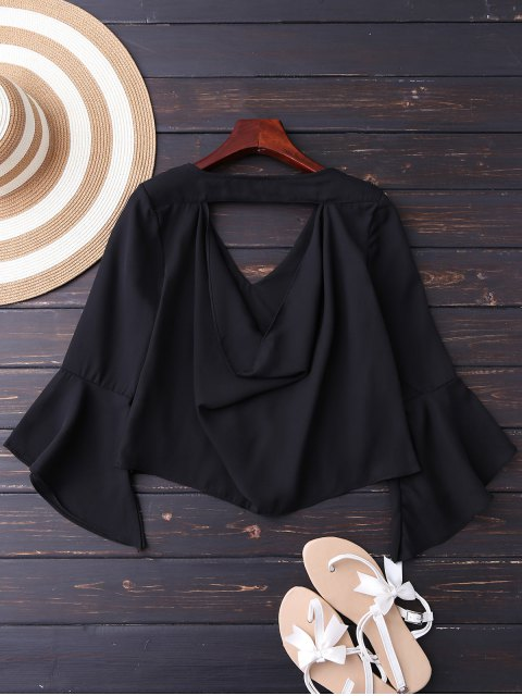 online Embroidered Rose Flare Sleeve Low Back Blouse - BLACK S Mobile