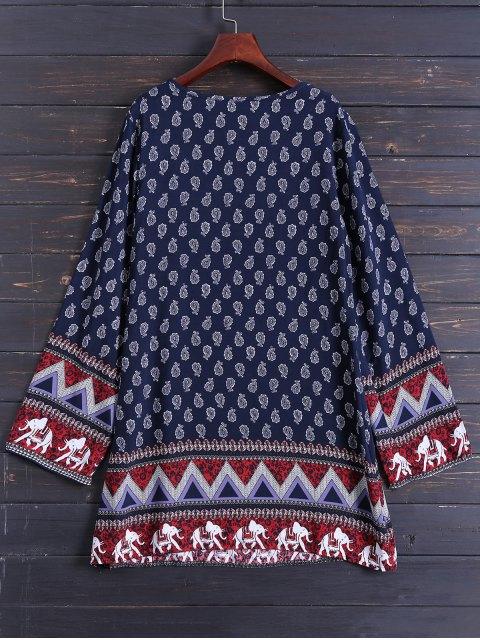 shops Long Sleeve Zig Zag Printed Dress - PURPLISH BLUE S Mobile
