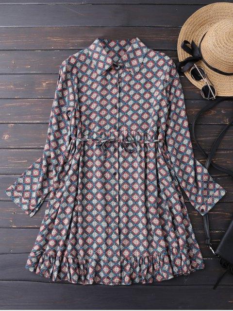 shop Button Up Argyle Tunic Shirt Dress - BLUE S Mobile