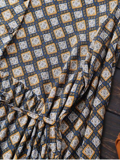 online Button Up Argyle Tunic Shirt Dress - CADETBLUE S Mobile