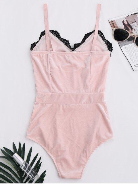 shops Lace Panel Velvet Bodysuit - PINK S Mobile
