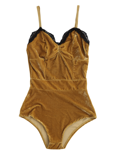 latest Lace Panel Velvet Bodysuit - COFFEE L Mobile