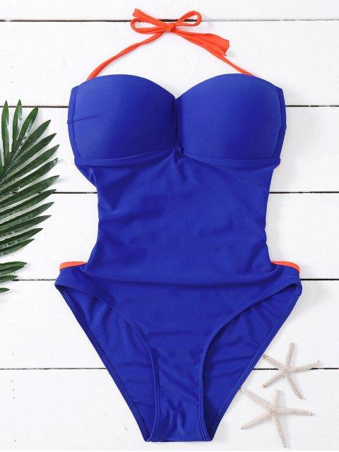 ladies Bandeau Lace Up One Piece Swimsuit - DEEP BLUE L Mobile