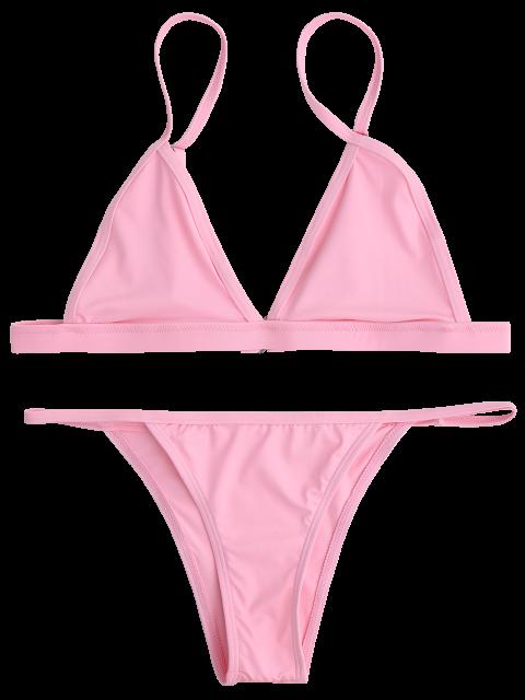 lady Back Closure High Leg Bikini Set - PINK S Mobile