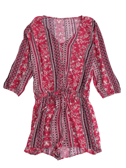 new Button Up Printed Drawstring Romper - RED M Mobile