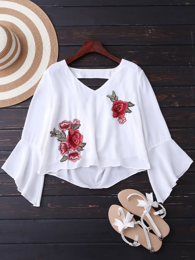 Embroidered Rose Flare Sleeve Low Back Blouse - White