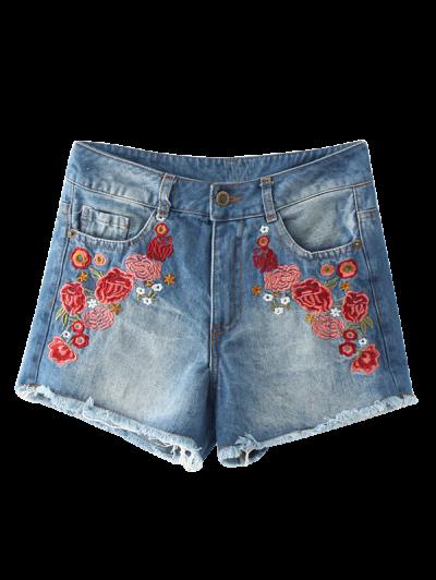 Frayed Hem Floral Embroidered Denim Hot Shorts - Blue