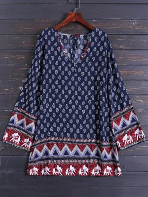 Long Sleeve Zig Zag Printed Dress - Purplish Blue