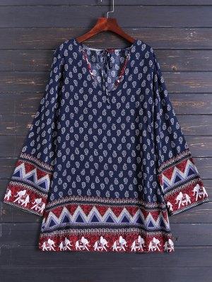 Long Sleeve Zig Zag Printed Dress - Purplish Blue