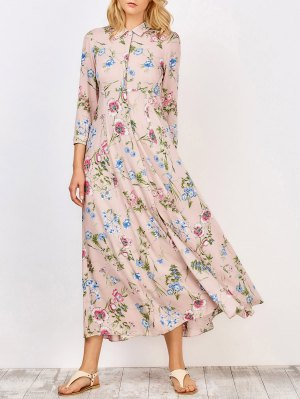 Side Pockets Floral Maxi Tea Dress - Pink