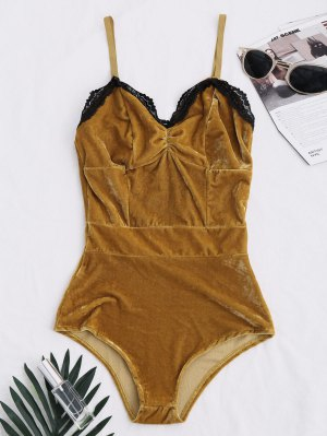 Lace Panel Velvet Bodysuit