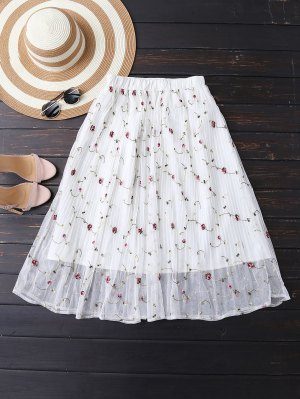 Embroidered Floral Pleated Tulle Skirt - Off-white