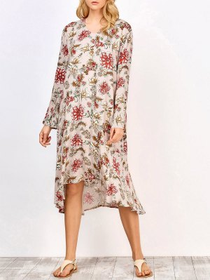Long Sleeve Midi Floral Dress - Complexion