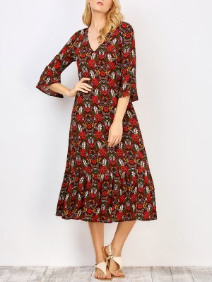 Frill Sleeve Midi Floral Dress - Floral