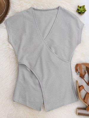 Short Sleeve Cross Front Top - Gray