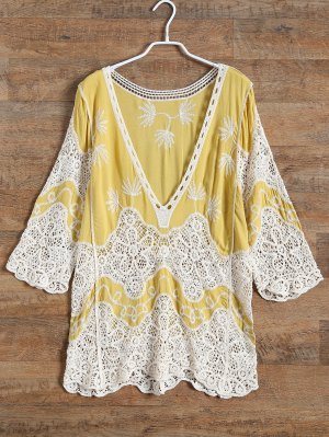 Plunging Neck Crochet Panel Blouse - Yellow