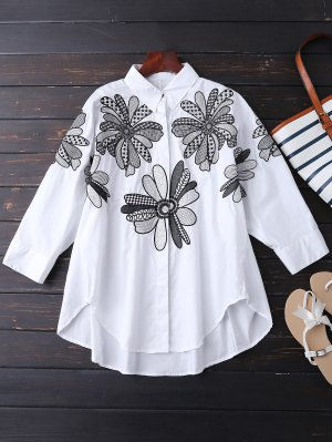 Boyfriend Floral Embroidered Shirt - White
