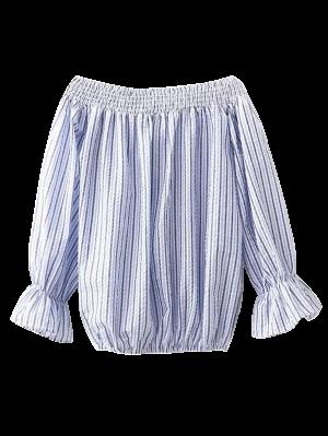 Off Shoulder Back Tied Striped Blouse - Stripe