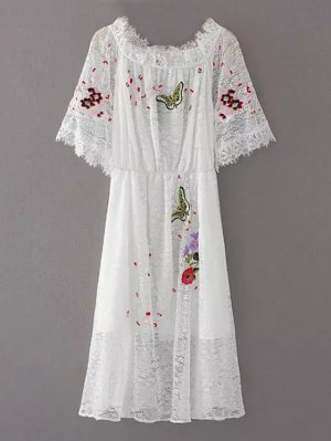 Embroidered Off Shoulder Lace Dress - White