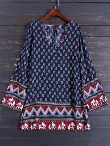 Long Sleeve Zig Zag Printed Dress