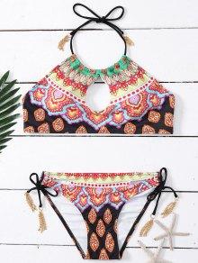 Strappy Métal Tassel Tie Side Print Bikini - S
