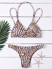 Strappy Leopard Plunge Bikini Set