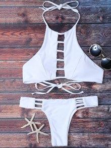 Padded Ladder Cut Bikini Set - White L