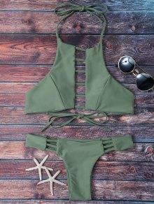 Padded Ladder Cut Bikini Set - Greyish Green S
