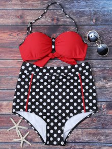 Polka Dot High Waisted Underwire Bikini