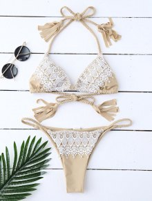 Tassels Lace Panel Halter Bikini Set - Off-white S