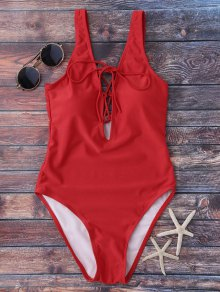 Lace Up Plunging Neck Swimwear - Red
