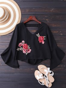 Embroidered Rose Flare Sleeve Low Back Blouse - Black