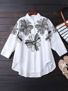 Boyfriend Floral Embroidered Shirt