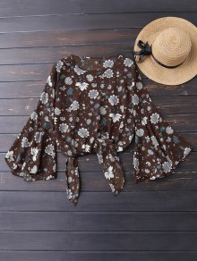 Knot Hem Floral Flare Sleeve Blouse - Coffee