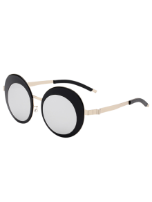 Round Panel Oval Lens Metallic Mirrored Sunglasses