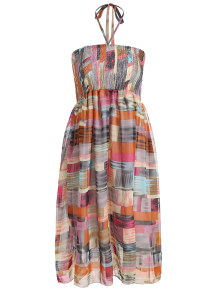 Smocked Halter Printed Chiffon Holiday Dress