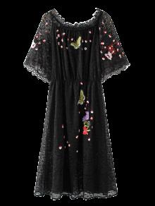 Embroidered Off Shoulder Lace Dress