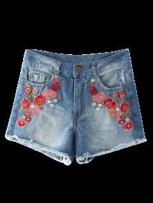 Frayed Hem Floral Embroidered Denim Hot Shorts