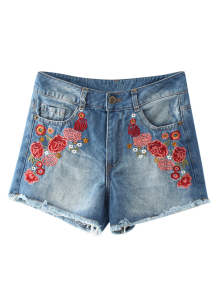 Frayed Hem Floral Embroidered Denim Hot Shorts