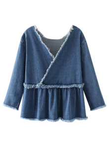 Frayed Ruffle Denim Surplice Top - Denim Blue L