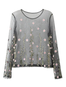 Sheer Floral Embroidered Mesh Blouse - Black