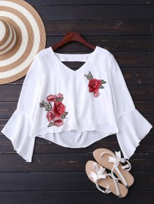 Embroidered Rose Flare Sleeve Low Back Blouse - White S