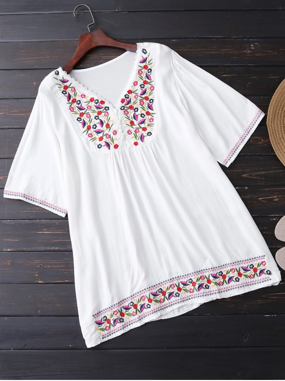 lady Floral Embroidered Tunic Blouse - WHITE ONE SIZE