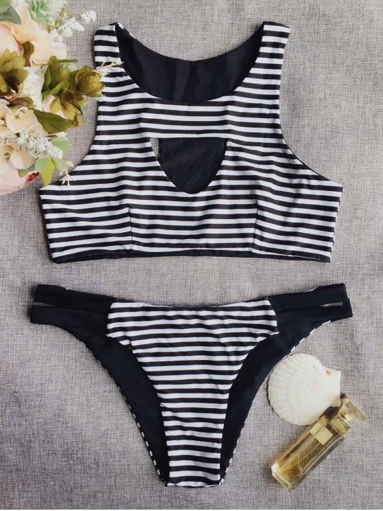 shops Round Neck Striped Cut Out Bikini Set - STRIPE S