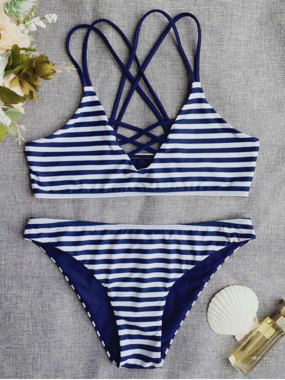 fashion Cross Back Striped Strappy Bikini Set - STRIPE S