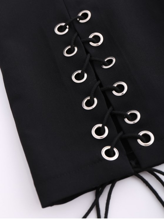 Punk Lace Up Mini Skirt - BLACK S Mobile