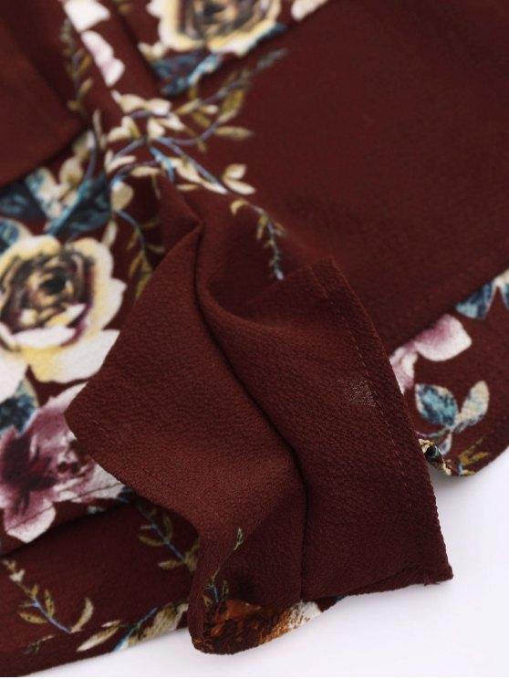 Rose Flounced Romper - WINE RED L Mobile