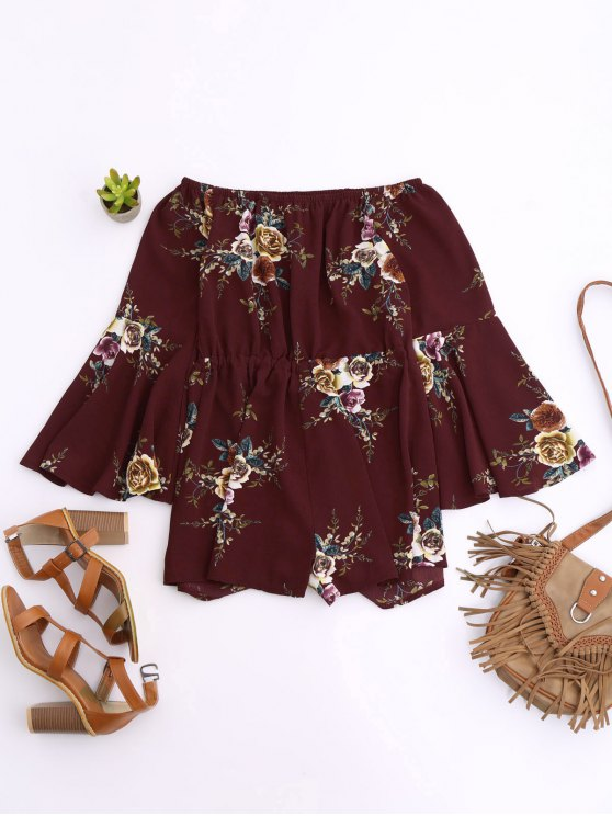 Off Shoulder Drawstring Waist Floral Romper - WINE RED M Mobile